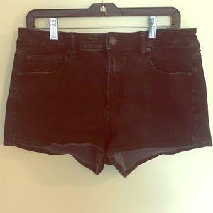 AEO Black Hi-Rise Shortie Denim Shorts
